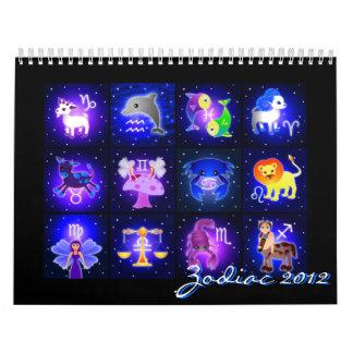 Calendario lindo 2012 de la muestra del zodiaco