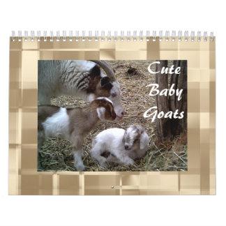Calendario lindo de las cabras del bebé
