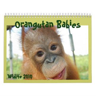 Calendario lindo de los bebés de la fauna de los
