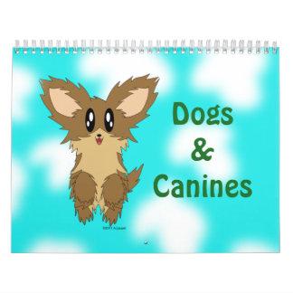 Calendario lindo de los perros y de los colmillos