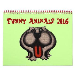 Calendario lindo divertido de los animales 2016
