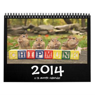Calendario lindo loco de los Chipmunks 2014
