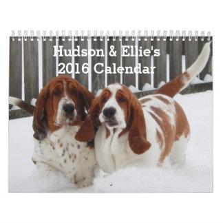 Calendario lindo y divertido de Basset Hound para