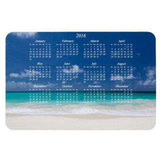 Calendario magnético 4x6 de la playa 2016 grandes rectangle magnet