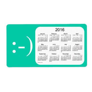Calendario marino de 2016 aguamarina por la etiqueta de envío
