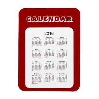 Calendario marrón 2016 por el imán de Janz 3x4