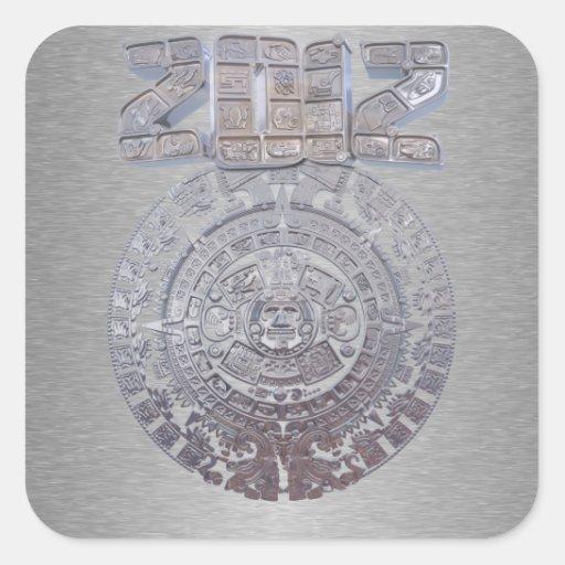 Calendario maya 2012 pegatina cuadrada