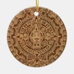 Calendario maya adorno navideño redondo de cerámica