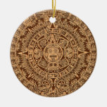 Calendario maya adorno redondo de cerámica