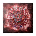 Calendario maya brillante azulejo cuadrado pequeño
