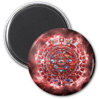 Calendario maya brillante imán redondo 5 cm