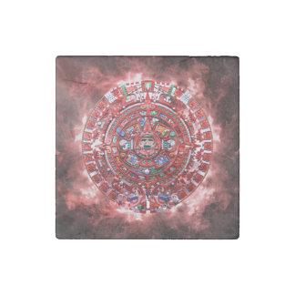 Calendario maya brillante imán de piedra