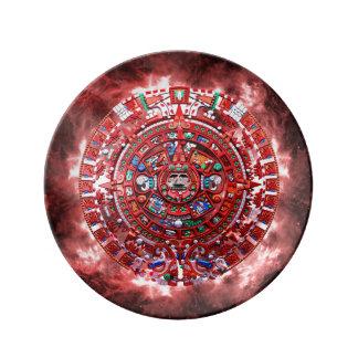 Calendario maya brillante platos de cerámica