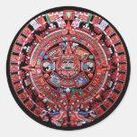 Calendario maya de Sunstone del metal Pegatinas Redondas