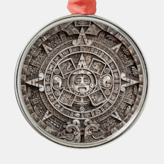 Calendario maya adorno redondo plateado