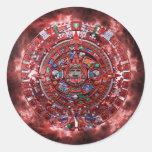 Calendario maya llameante pegatina redonda