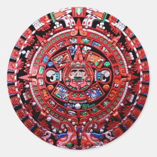 Calendario maya etiquetas redondas