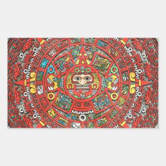 Calendario maya pegatina rectangular