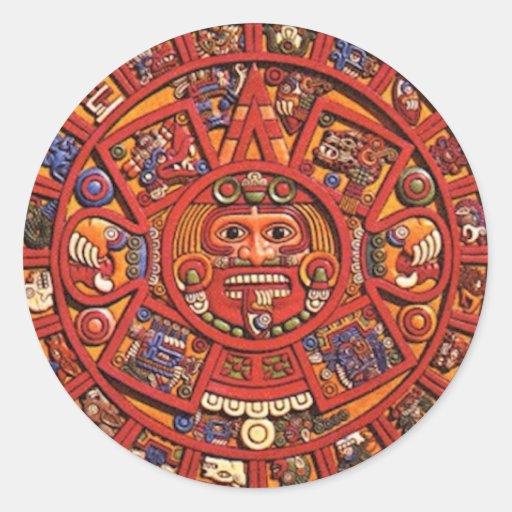 Calendario maya pegatina redonda