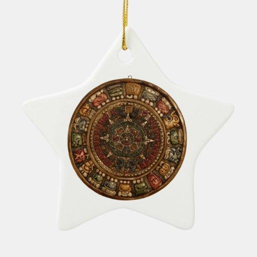 Calendario maya y azteca (productos múltiples) adorno navideño de cerámica en forma de estrella