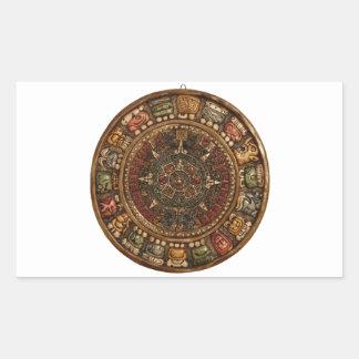 Calendario maya y azteca (productos múltiples) pegatina rectangular