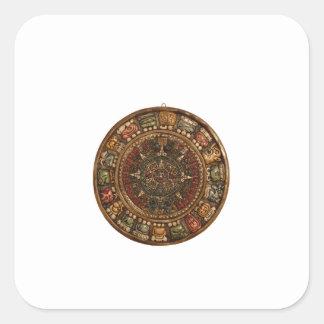 Calendario maya y azteca (productos múltiples) pegatina cuadrada