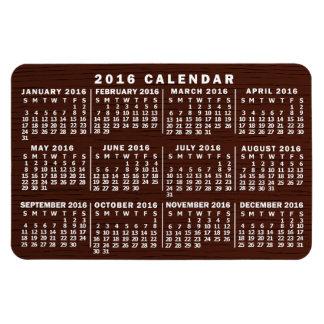 Calendario mensual de 2016 años con el grano de imanes flexibles