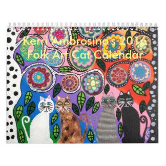 Calendario mexicano del gato del arte popular