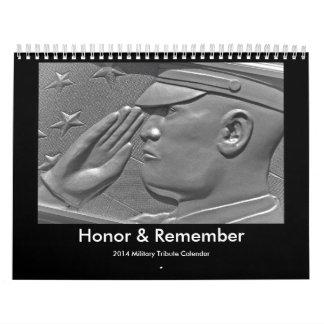 Calendario militar patriótico del tributo del héro