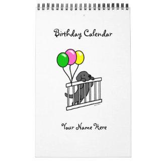 Calendario negro del cumpleaños del dibujo animado