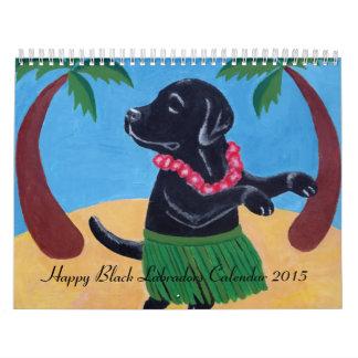 Calendario negro feliz 2015 de Labradors