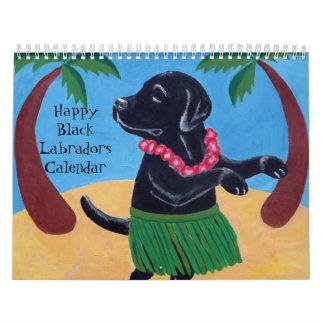 Calendario negro feliz de Labradors B 2016