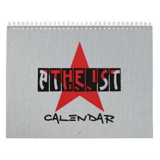 Calendario negro, gris y rojo ateo