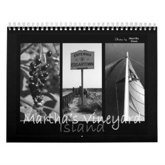 Calendario negro y blanco de la isla del Martha's