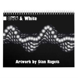 Calendario negro y blanco del fractal