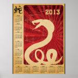 Calendario oriental de la serpiente 2013 de la cob posters