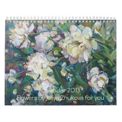 Calendario original del arte - flores hermosas