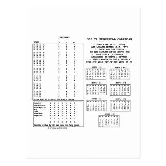 Calendario perpetuo de 300 años (día de la semana) postal