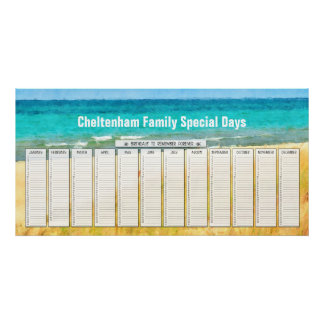Calendario perpetuo del cumpleaños de la playa del poster