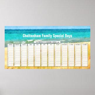 Calendario perpetuo del cumpleaños de la playa del póster