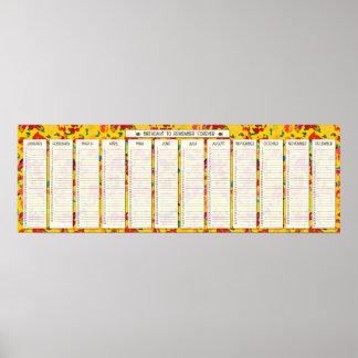 Calendario perpetuo del cumpleaños del confeti col impresiones