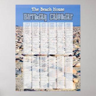 Calendario perpetuo personalizado del cumpleaños póster