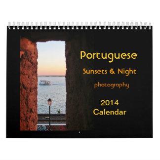 Calendario portugués 2014 de las puestas del sol