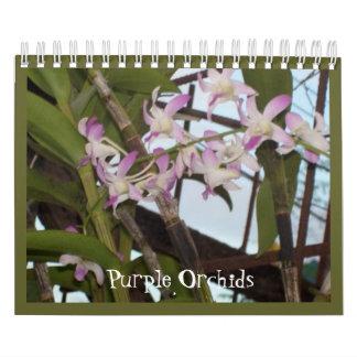 Calendario púrpura de las orquídeas