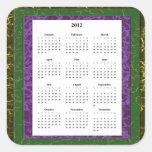 Calendario púrpura, verde y de Brown del marco Colcomania Cuadrada