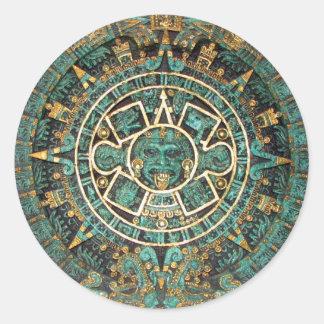 Calendario redondo antiguo maya azteca del disco pegatina redonda