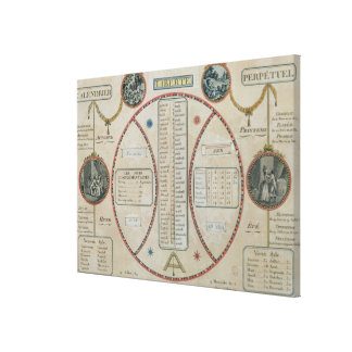 Calendario republicano perpetuo, junio de 1801 lienzo envuelto para galerías