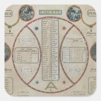 Calendario republicano perpetuo, junio de 1801 calcomanias cuadradas