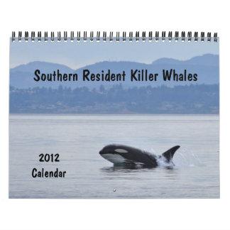 Calendario residente meridional del 2012 de las