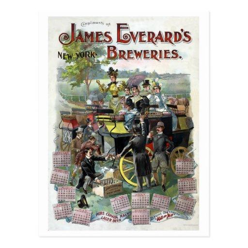 Calendario restaurado de la cervecería de Nueva Tarjeta Postal